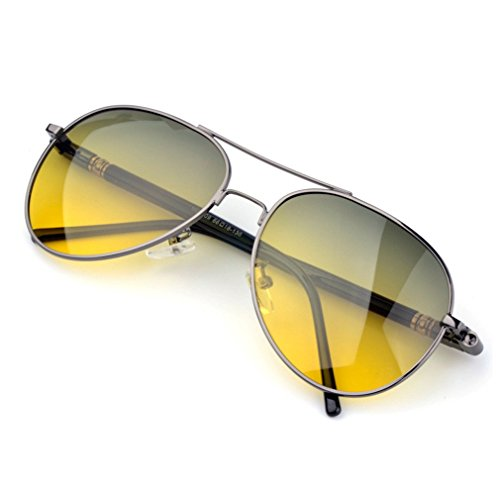 LOMOL Mens UV Pritection Anti-Dazzle Day and Night Amphibious Driving - Wear When People Old Sunglasses