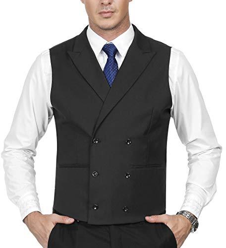 Jacket Tuxedo Double Breasted Peak (Men's Vintage Peak Collar Double-Breasted Tuxedo Vest Size L Black)