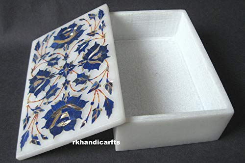 rkhandicrafts Handmade Marble Trinket Box Multi Use Box Inlay Work Lapis Lazuli Gem Stones Birthday Gift Item 6 x 4 Inches