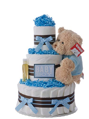 (Diaper Cake - Darling Boy Theme Handmade By Lil Baby Cakes - Baby Boy Gift - Makes a Great Baby Shower Centerpiece )
