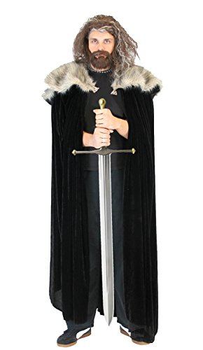 Game of Thrones Medieval North King Ned Stark Fur Costume Cloak Cape]()
