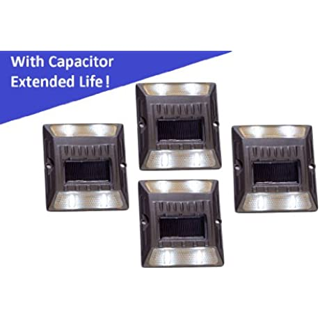 White Aluminium Alloy Solar Road Stud Path Deck Dock LED Light With Capacitor 4 Pack