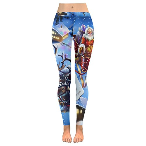 INTERESTPRINT Christmas Santa Claus Custom Stretchy Capri Leggings Skinny Pants for Yoga Running Pilates Gym 4XL