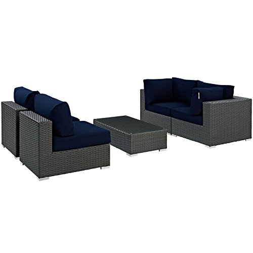 Modway Sojourn Casual Dining 5 Piece Outdoor Patio Rattan Sectional Set With Sunbrella Brand Navy Canvas Cushions