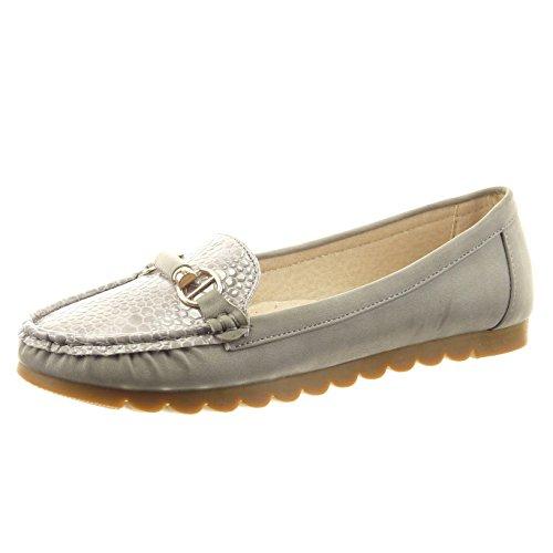 Sopily - Scarpe da Moda ballerina alla caviglia donna pelle di serpente metallico d'oro Tacco a blocco 1.5 CM - Grigio