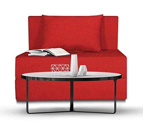 Adorn India Easy Single Seater Sofa Cum Bed Alyn 3 #39;x 6 #39;  Red