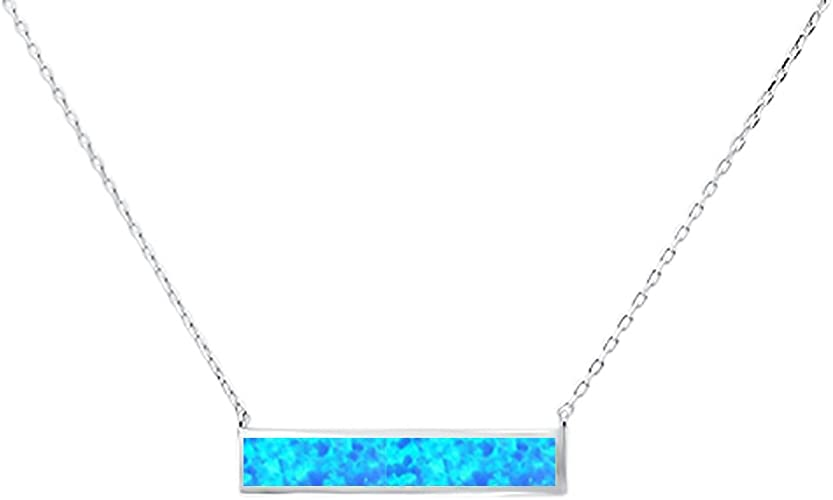 KELITCH Minimalist Bar Necklace with Created-Opal Pendant for Women Fashion Jewelry 16~18