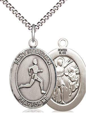 Track /& Field St 18 Rhodium Plated Clasp Chain 3//4 tall Sebastian Medal in Fine Pewter