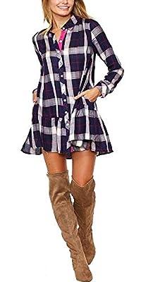 Women's Long Sleeve Yarn-Dyed Plaid Ruffle Hem Shirt Dress