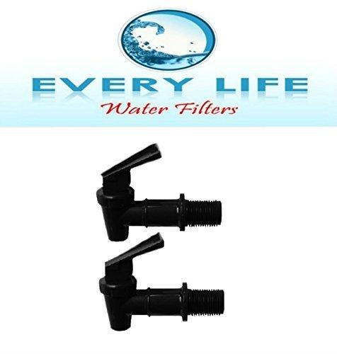 Black Plastic Faucet, Spigot, Twin-pack, Beverage Dispenser,