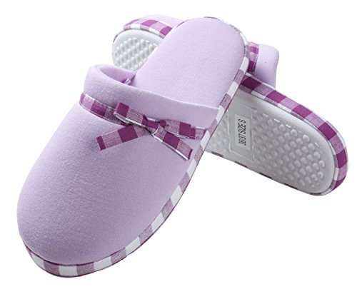 Aerusi Mujeres Polar Y Microfibra Checkered Trim Zapatillas Lila