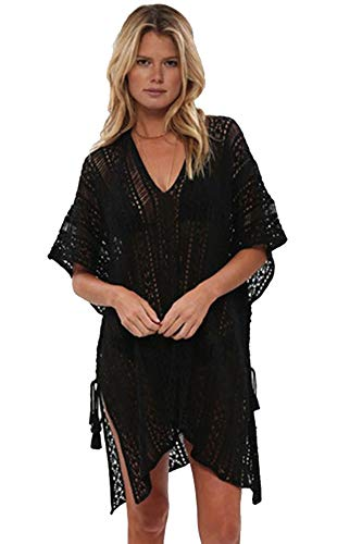 shermie Swimsuit Cover ups for Women Women's V-Neck Hollow Out Swimwear Swimsuit Cover Ups Knitted BeachCover Ups Dresses Black - Ladies Knitted Mesh Hat