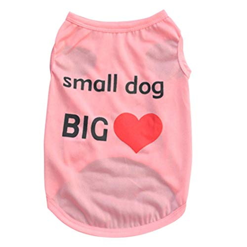 Jim-Hugh Letter Printed Small Tops Honden Cat Puppy Clothes T Shirt Dress Pet Dog Cotton Costumes Summer Vests for Dogs ()