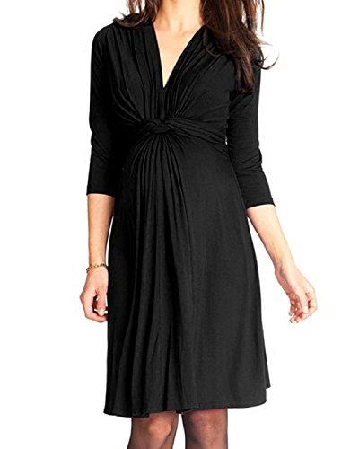 KIMILILY Women's Elegant Black V Neck Knot Front Ruched Stretch Maternity Dress (Black, (Dressy Black Dress)