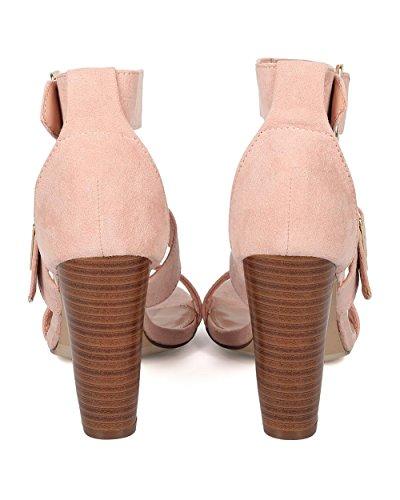 Breckelles Morgan-21 Elegante Fibbia Sexy Sandali Con Tacco A Spillo In Finta Pelle Scamosciata