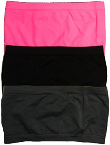 3 Pack Seamless Bandeau Top Nylon Spandex Multiple Colors,One Size,3 Pack Dk Dk Grey//Fuschia//Black.3 Pack