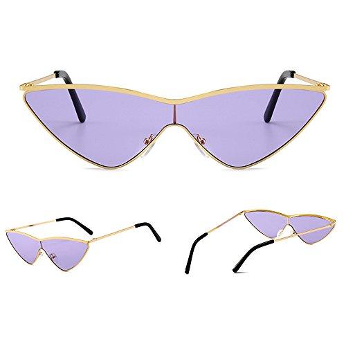 soleil polarisées oeil de à Lentille de Violet Cadre verres soleil de lunettes chat soleil soleil de lunettes KINDOYO non Femmes lunettes triangle UV400 dégradés protection Or lunettes de de mode nYBwx4CZaq