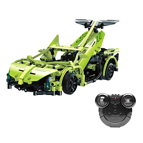 The perseids RC Sport Racing Car Building Kit in Green 453 pcs with 2.4 Ghz Remote Controller, Gift for Kids 6-14 Years Old