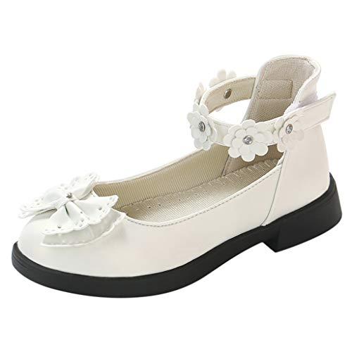 (Tantisy ♣↭♣ Toddler/Little Kids Camila Princess Uniform School Ballet Flower Mary Jane Girls Flats Dress Shoes White )