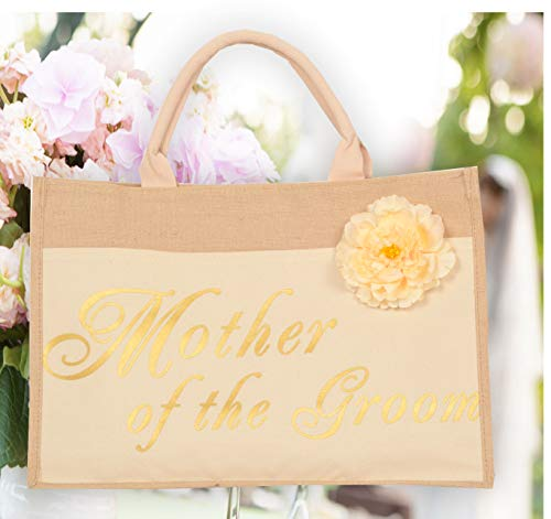 Mother of the Groom Bags – 100% Linen and Cotton, Interior Pocket – Wedding Favors – Bridal Shower Gift – Bachelorette Parties – Bride to Be – Bridal Shower Unique Gifts (Mother of the Groom)
