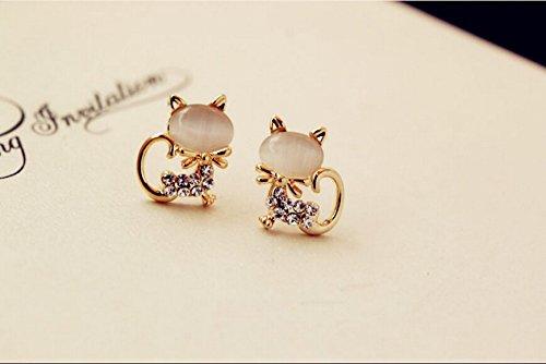 JD Million shop 2017 New Hot Fashion Fine Jewelry Gold Color Super Cute Sweet Fresh Opal Rhinestone Kitty Cat Stud Earrings For Women Girl E-69 (Starbucks Gift Basket Delivery)