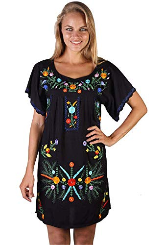 - Back From Bali Mexico Embroidered Short Dress Black XL