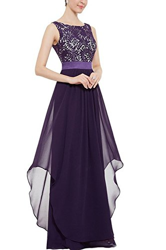 Women 's Lace Elegante Vestido De Dama De Honor Vestido Largo De Fiesta De La Boda Purple