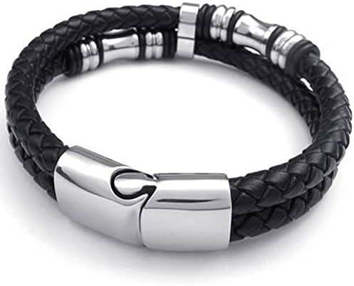 """MENDINO Men/'s Stainless Steel Leather Bracelet Braided Clasp Bangle Black 8/""""-9/"""""""