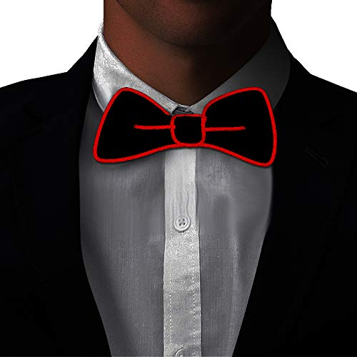Light Up BowTie Costume Accessory LED Bow Tie Perfect for Halloween Party Christmas New Years Rave Party -