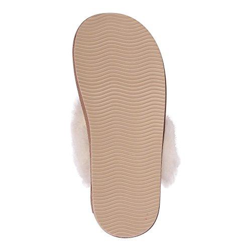 Hollert German Leather Fashion Lammfell Damen Hausschuhe Malibu Pantoffeln Puschen Beige/Weiß