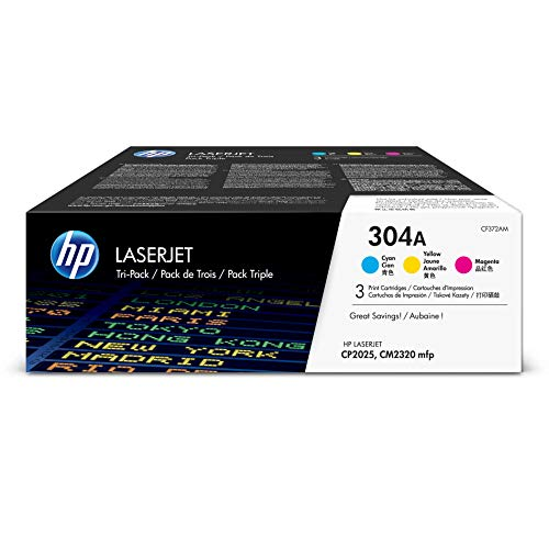 HP 304A (CF340A) Cyan, Magenta & Yellow Toner Cartridges, 3 Cartridges (CC531A, CC532A, CC533A) for HP Color LaserJet CP2025 CM2320 ()