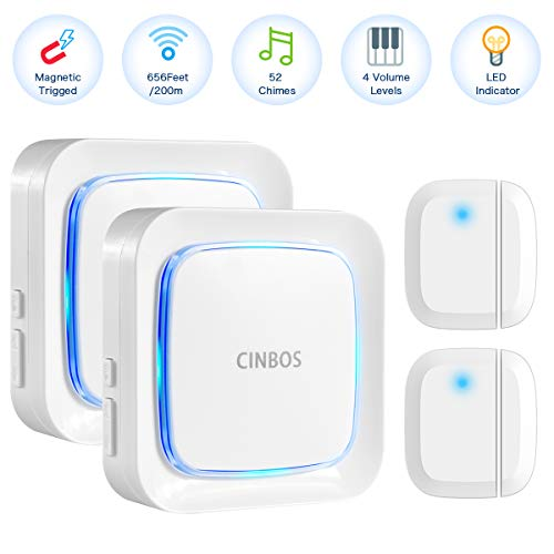CINBOS Door Alarm for Home/Office,Wireless Door Open Chime Range 656 Feet/52 Chimes/4 Level Volume/LED Indicator Home Security Window Entry Alert Doorbell (2 Sensor + 2 Receiver)