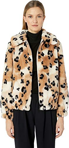 Rebecca Taylor Women's Cheetah Faux Fur Coat Cream Combo X-Small
