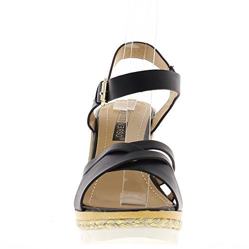 Sandalias de cuña negro Tacon 11 cm y suelas anchas