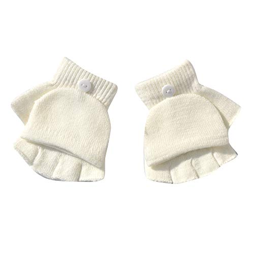 Yomiafy Boys Winter Hand Wrist Warmer Flip Cover Fingerless Gloves Baby Knitted Convertible Fingerless Mittens