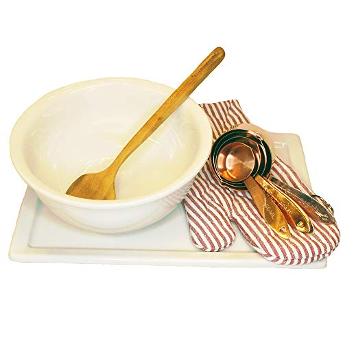 Christina Home Designs Designer Collection includes Vintage Reproduction Stoneware Platter with Matching Mixing Bowl, Red and White Striped Oven Mitt, Wooden Spoon and Copper Plated Measuring Spoons.