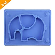 """Mini baby Placemat, Silivo 10""""x7.7""""x1"""" Silicone Child Feeding Mat with Suction Cup Fits Most Highchair Trays Blue"""