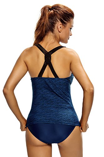 Nuevas señoras azul y negro Fuzzy patrón nadar chaleco Top Beach Wear Tops Casual Wear ropa tamaño s UK 8–�?0EU 36–�?8