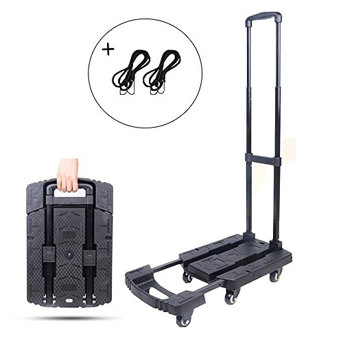 Folding Luggage Cart Portable Hand Truck 440lbs 360° Rotate Wheel Black