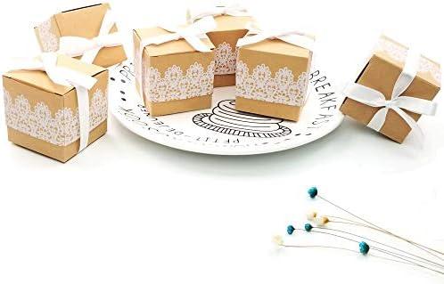 JZK 50 x cordón papel kraft fiesta cajas favor caja de regalo para ...