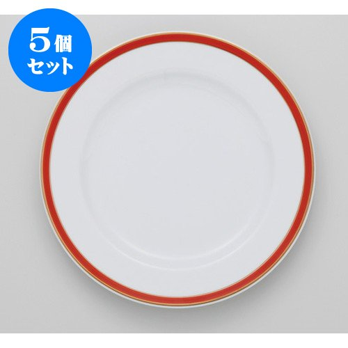 5個セットハイレッド 10″ディナー [ 26 x 2.8cm 620g ] 【 アーバンカフェ 】 【 ホテル レストラン 洋食器 飲食店 業務用 上品 】   B074ZX6ZXD