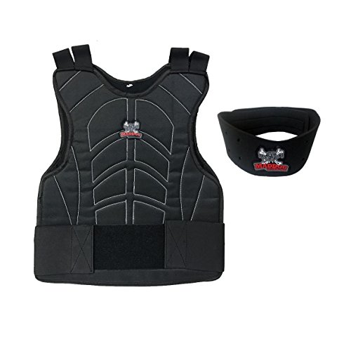 MAddog Sports Padded Chest Protector with Neck Protector Safety Combo - Black (Best Paintball Chest Protector)