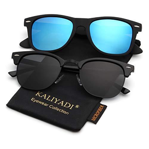 Polarized Sunglasses for Men and Women | Semi-Rimless Frame | Driving Sun glasses | 100% UV Blocking (Wayfarer Light Ray)