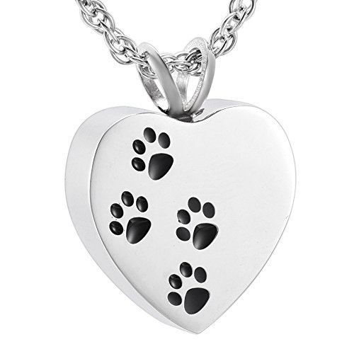 discount Pet Cremation Pendant Stainless Steel Cat/Dog Paw Print Memorial Urn Necklace for Pets Ashes Keepsake Jewelry hot sale