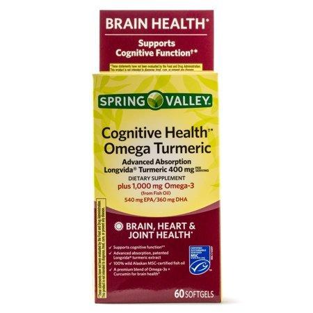 Spring Valley Cognitive Health Omega Turmeric, 60 Softgels