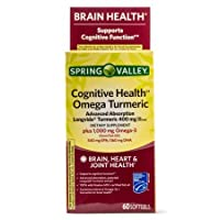 Spring Valley Cognitive Health Omega Turmeric, 60 Softgels (Pack of 2)