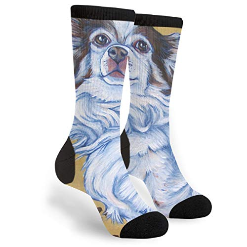 (White Long Hair Chihuahua Art Painting Youth Male Mens Boys Teen Kid Unisex Ankle Themed Clothing Gifts Party Clothes Dresses Quarter Dress Mid Calf Knee Crew Socks Calf Knit Hosiery)