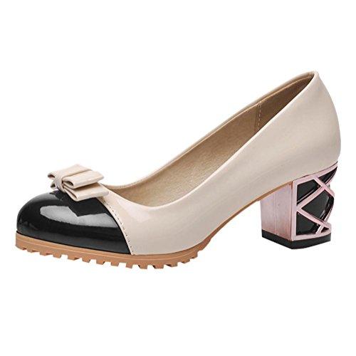 MissSaSa Damen Chunky heel Low-cut Schleife runde Spitze Lackleder Pumps mit Blockabsatz Schwarz