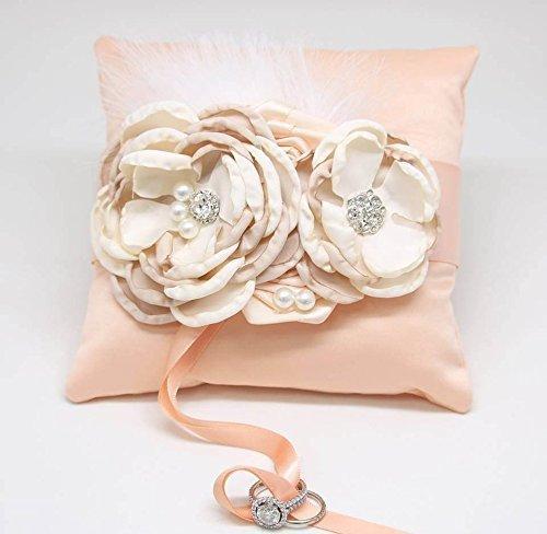 Peach Ring Pillow Ivory Champagne Dog Ring Bearer Collar, Summer wedding (Wedding Ring Pillow Dog)