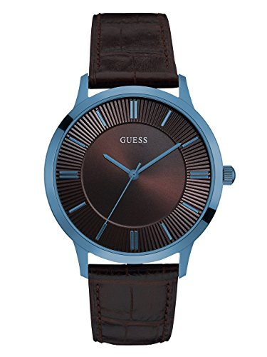 GUESS-Mens-U0664G3-Dressy-Blue-Watch-with-Plain-Brown-Dial-and-Genuine-Leather-Strap-Buckle